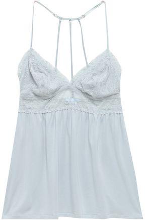 EBERJEY Elvia lace-paneled stretch-modal chemise