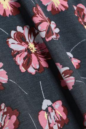 EBERJEY Lace-trimmed floral-print stretch-modal jersey chemise