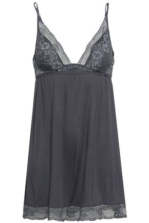 EBERJEY Lace and stretch-modal jersey chemise