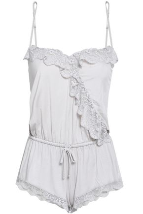 EBERJEY Lace-trimmed stretch-cotton jersey playsuit