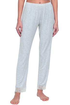 EBERJEY Lace-trimmed printed stretch-modal pajama pants