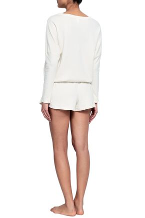 EBERJEY Quilted cotton-blend jersey pajama shorts