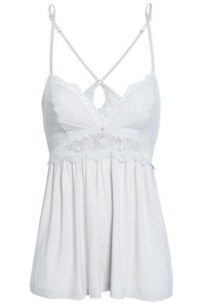 EBERJEY Lace-trimmed stretch-modal jersey camisole