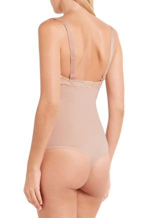WOLFORD Lace-trimmed stretch-cotton bodysuit