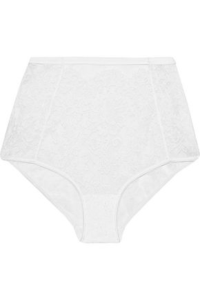 I.D. SARRIERI Cotton-blend Chantilly lace high-rise briefs