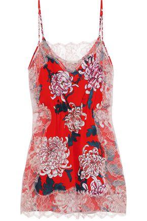 FLEUR DU MAL Lace-trimmed floral-print silk crepe de chine chemise