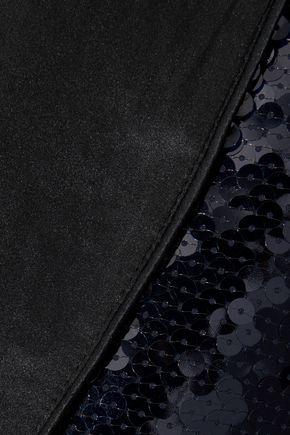 FLEUR DU MAL Silk satin-trimmed sequined chiffon robe