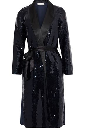 FLEUR DU MAL Silk satin-trimmed sequined chiffon robe