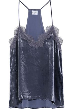CAMI NYC Racer lace-trimmed velvet camisole