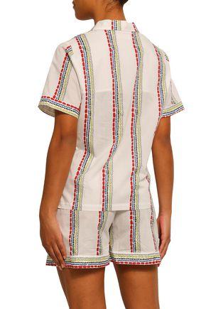 YOLKE Printed cotton-mousseline pajama set