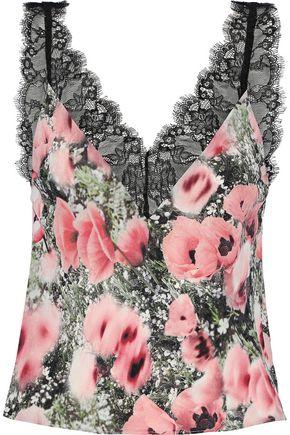 FLEUR DU MAL Lace-trimmed floral-print crepe de chine camisole