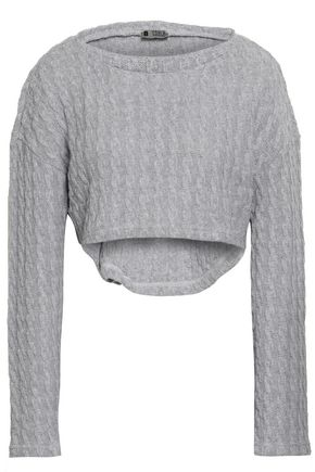 COSABELLA Cropped cable-knit cotton-blend pajama top
