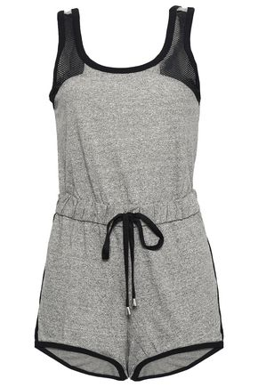 COSABELLA Portofino mesh-paneled mélange cotton-blend jersey playsuit