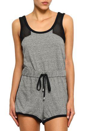 COSABELLA Portofino mesh-paneled mélange cotton-blend jersey playsuit