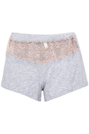 COSABELLA Lace-paneled mélange cotton-blend pajama shorts
