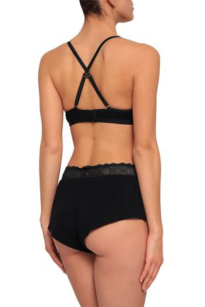 COSABELLA Lace-trimmed Micro Modal-blend jersey high-rise briefs