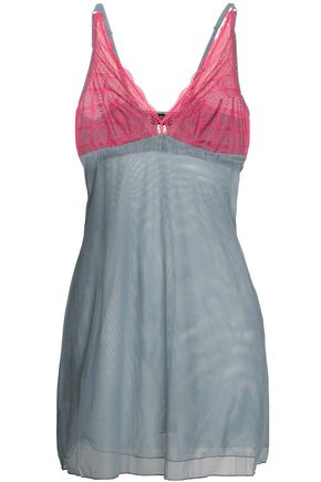 COSABELLA   Cosabella Two-Tone Lace And Stretch-Mesh Chemise   Goxip