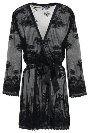 COSABELLA   Cosabella Satin And Lace-Paneled Robe   Goxip