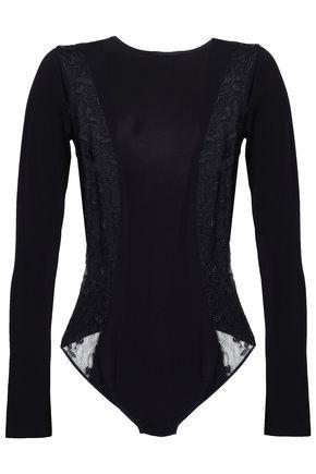 COSABELLA Cutout stretch-jersey and lace-paneled bodysuit