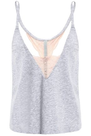 COSABELLA | Cosabella Lace-Trimmed Mélange Cotton-Blend Jersey Camisole | Goxip