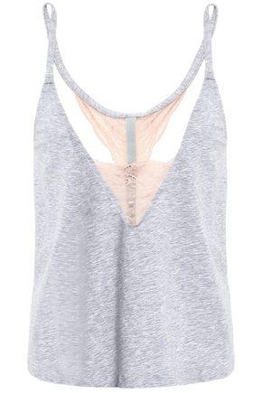 COSABELLA Lace-trimmed mélange cotton-blend jersey camisole