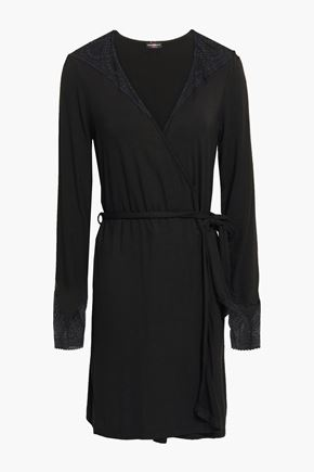 COSABELLA | Cosabella Lace-Trimmed Stretch-Jersey Robe | Goxip