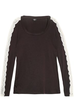 COSABELLA Lace-trimmed cotton-blend pajama top