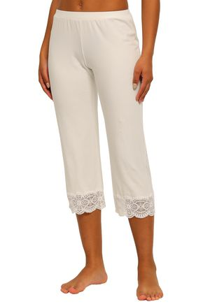COSABELLA Cropped lace-trimmed cotton-blend jersey pajama pants