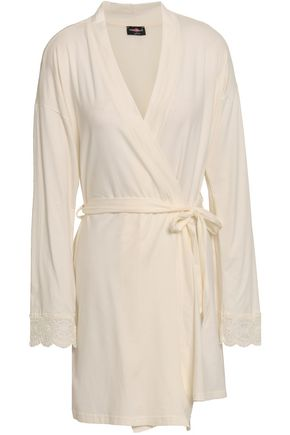 COSABELLA Lace-trimmed cotton-blend jersey robe