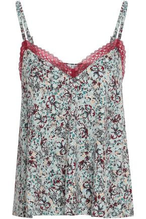 COSABELLA Lace-trimmed printed Pima cotton and modal-blend jersey camisole