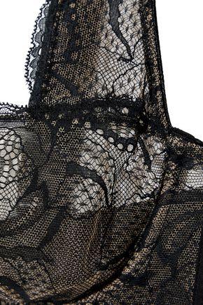 CALVIN KLEIN UNDERWEAR Chantilly lace and Swiss-dot jersey underwired balconette bra