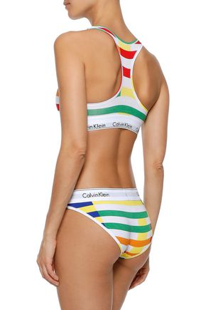 ... CALVIN KLEIN UNDERWEAR Printed stretch-cotton sports bra 0841bc878