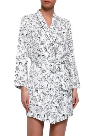 LOVE STORIES Printed twill robe
