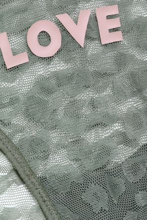 LOVE STORIES Shelby embroidered stretch-mesh low-rise briefs