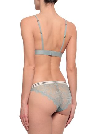 LOVE STORIES Lace-trimmed stretch-jersey triangle bra