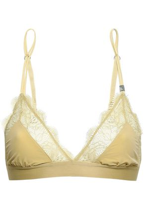LOVE STORIES Lace-trimmed leopard-print triangle bra