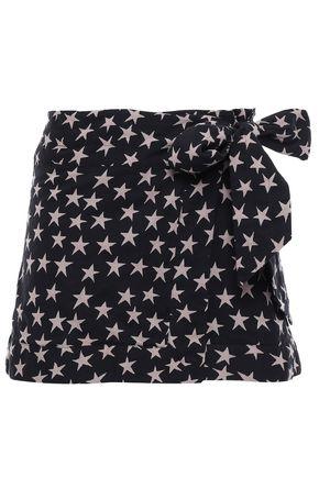 LOVE STORIES Printed cotton mini wrap skirt
