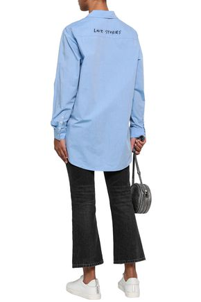 LOVE STORIES Jones embroidered cotton-poplin shirt
