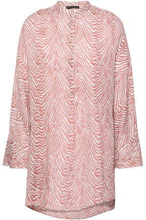 LOVE STORIES Lea zebra-print cotton-gauze blouse