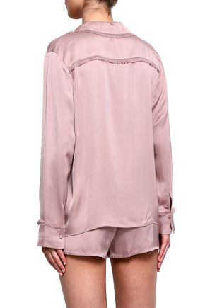 LOVE STORIES Bluemoon fringed satin pajama top