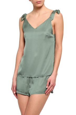 LOVE STORIES Bow-detailed satin camisole