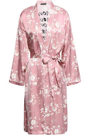 LOVE STORIES Susie embroidered floral-print satin robe