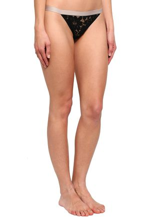 LOVE STORIES Set of two lace and printed jersey low-rise thongs