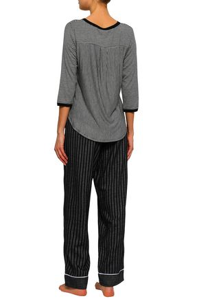 DKNY Striped knitted pajama top