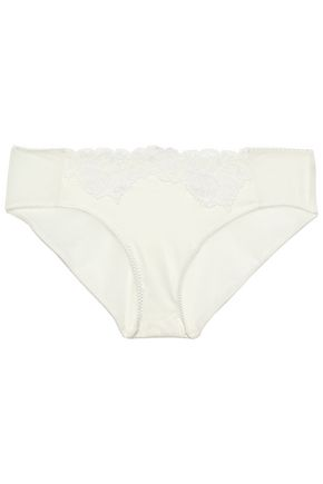 WOLFORD Lace-trimmed satin and tulle mid-rise briefs