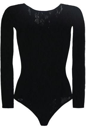 WOLFORD Jacquard-knit wool-blend thong bodysuit
