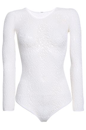 WOLFORD Lee open-knit wool-blend thong bodysuit