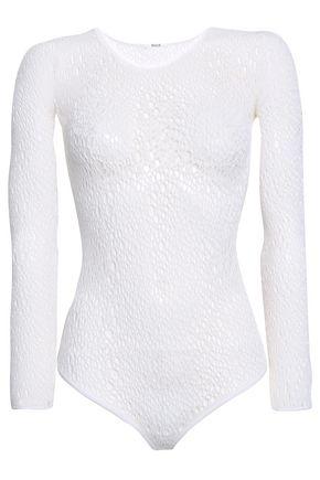 WOLFORD Lee open-knit wool-blend thong bodysuit