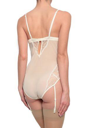 CALVIN KLEIN UNDERWEAR Stretch-mesh and lace-paneled bodysuit