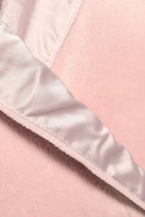 DKNY Satin-trimmed fleece robe